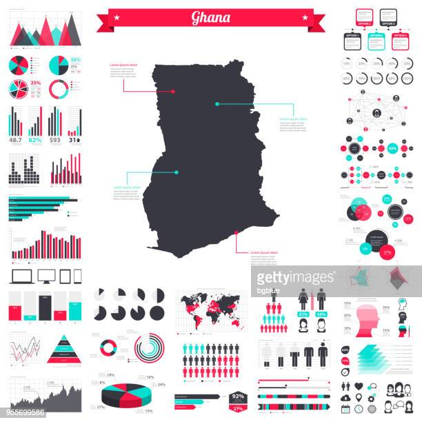 ghana map with infographic elements - big creative graphic set - ghana stock illustrations, clip art, cartoons, & icons