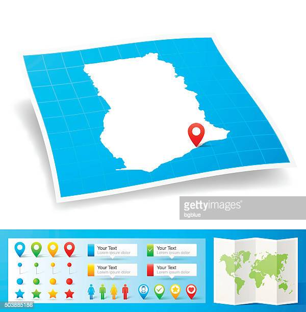 ghana map with location pins isolated on white background - accra stock illustrations, clip art, cartoons, & icons