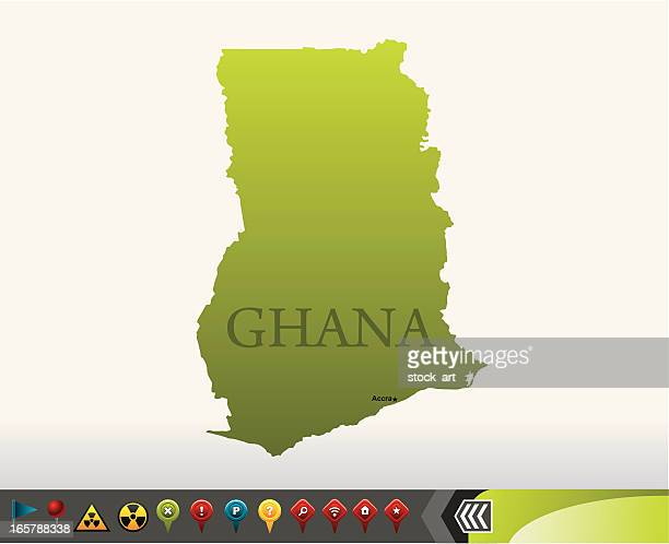 ghana map with navigation icons - ghana stock illustrations, clip art, cartoons, & icons