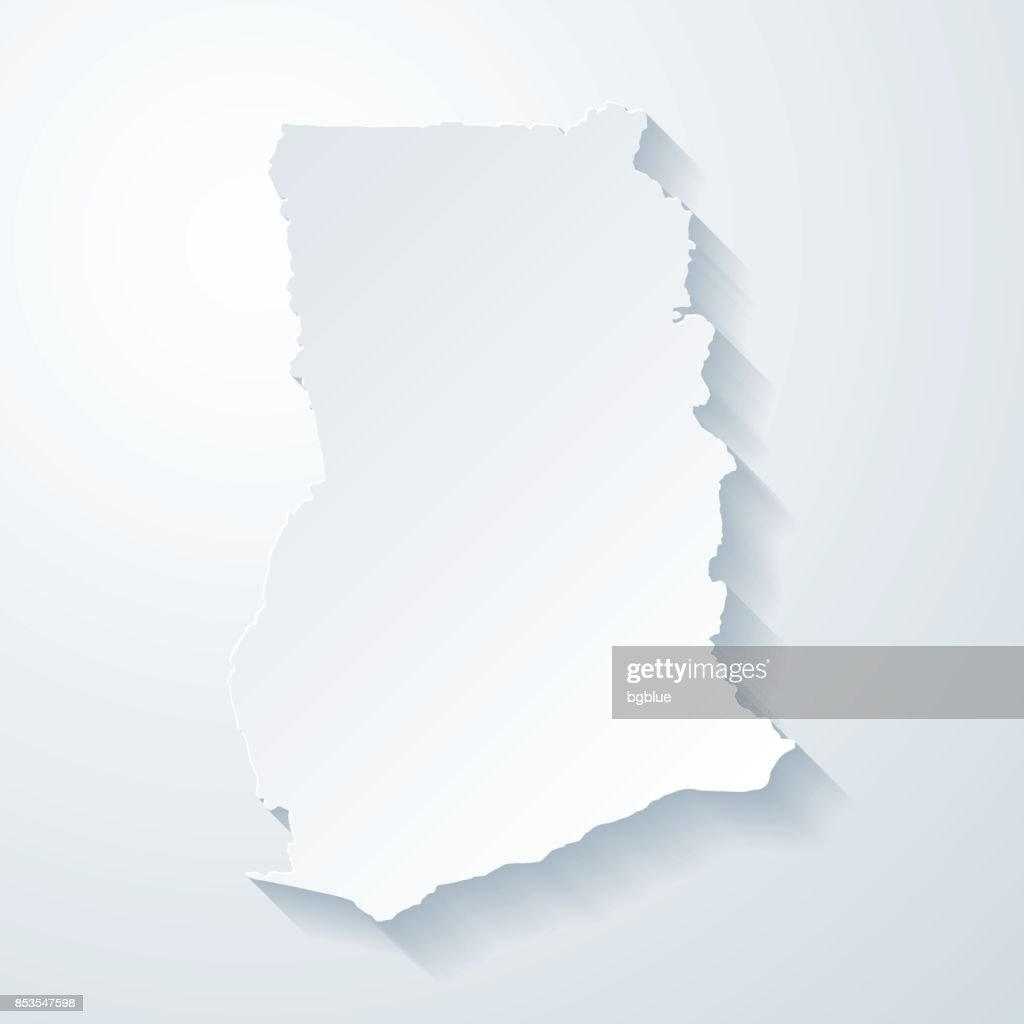 Ghana map with paper cut effect on blank background : Stock Illustration