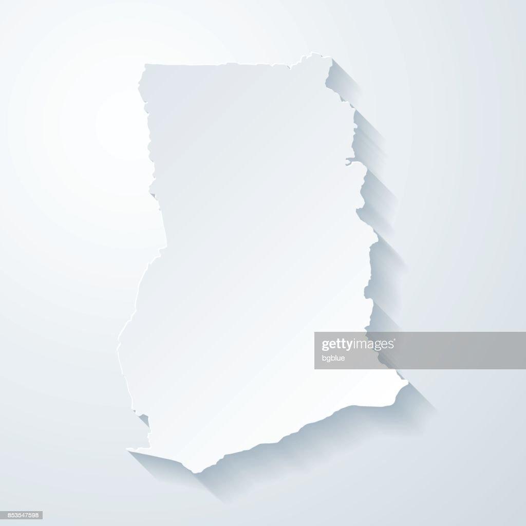 Mapa de Gana com papel corta efeito no fundo em branco : Ilustração