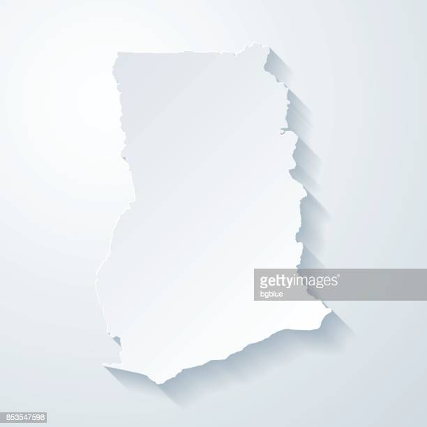 ghana map with paper cut effect on blank background - ghana stock illustrations, clip art, cartoons, & icons