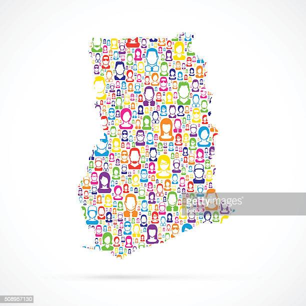 ghana map with people - accra stock illustrations, clip art, cartoons, & icons