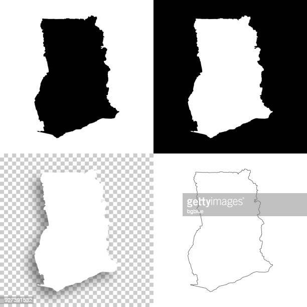 ghana maps for design - blank, white and black backgrounds - ghana stock illustrations