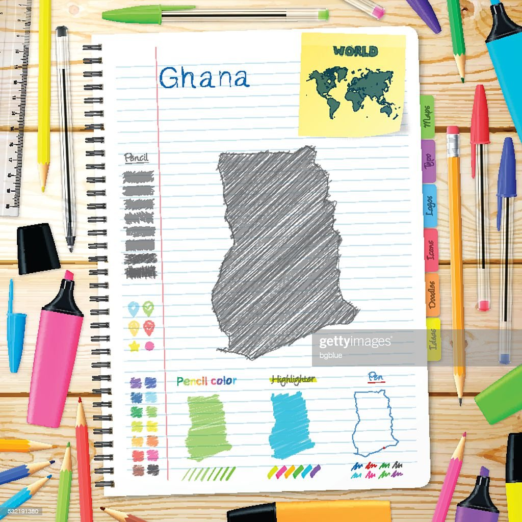 Ghana maps hand drawn on notebook. Wooden Background : stock illustration