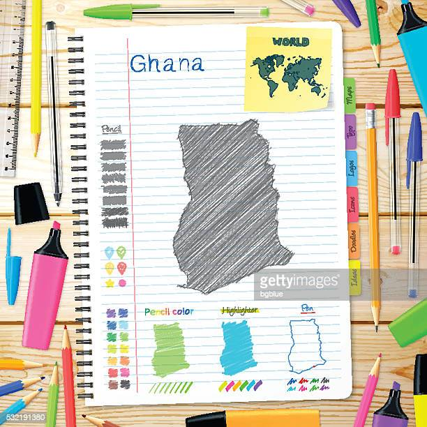 ghana maps hand drawn on notebook. wooden background - ghana stock illustrations, clip art, cartoons, & icons