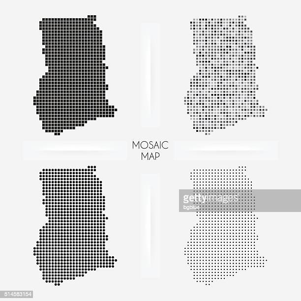 ghana maps - mosaic squarred and dotted - accra stock illustrations, clip art, cartoons, & icons