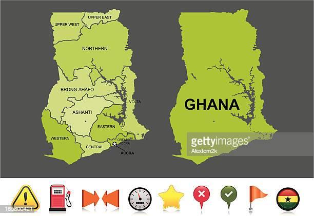ghana navigation map - ghana stock illustrations, clip art, cartoons, & icons