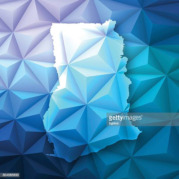 ghana on abstract polygonal background - low poly, geometric - ghana stock illustrations, clip art, cartoons, & icons