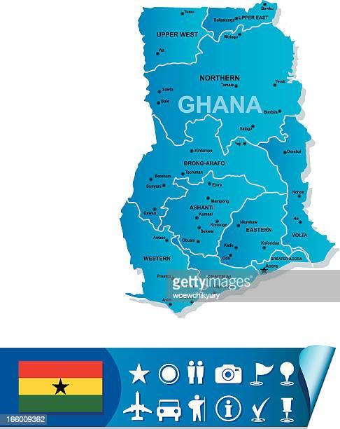 ghana vector map - ghana stock illustrations, clip art, cartoons, & icons