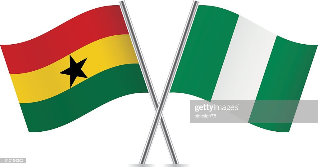 Ghanaian and Nigerian flags. Vector.