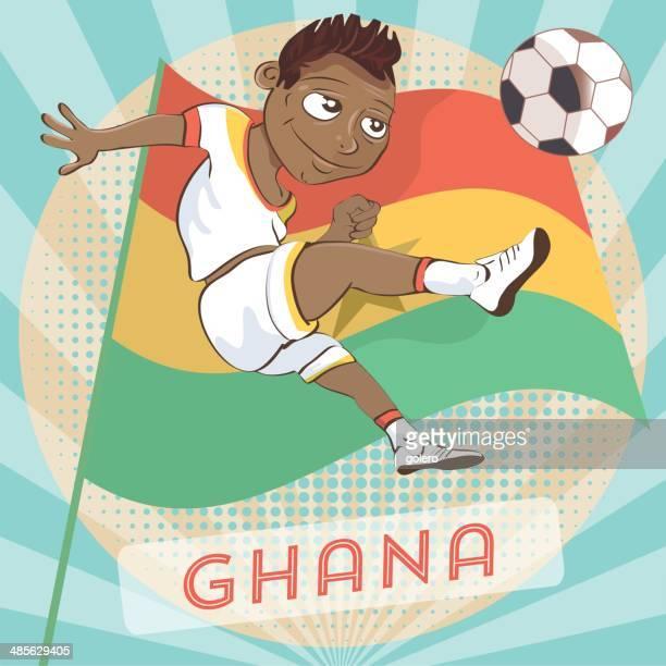 ghanaian soccer player - ghana flag stock illustrations, clip art, cartoons, & icons
