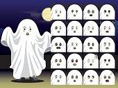 Ghost Cartoon Emotion faces Vector Illustration