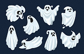 Ghost character. Halloween scary ghostly monster, dead boo spook and spooky fly anima isolated cartoon vector set