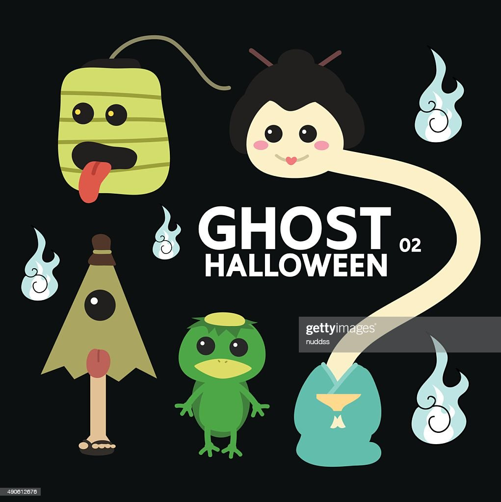 ghost character set for Halloween, cute minimal flat design