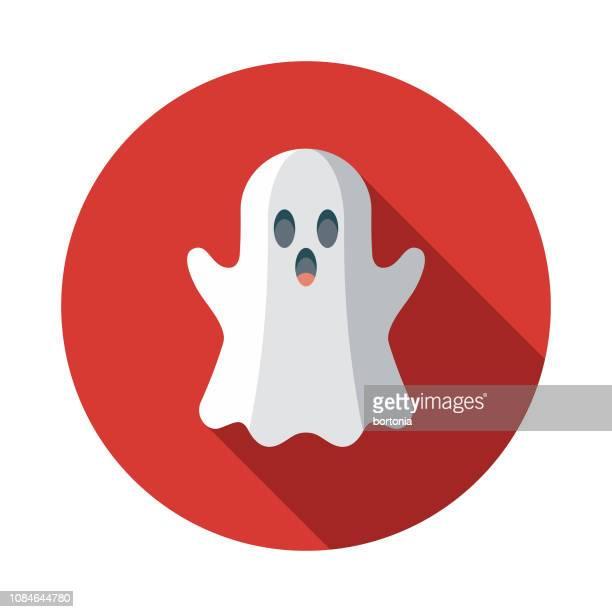 ilustraciones, imágenes clip art, dibujos animados e iconos de stock de ghost diseño plano de los inocentes día icono - aparición acontecimiento