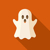 Ghost Flat Design Halloween Icon with Side Shadow