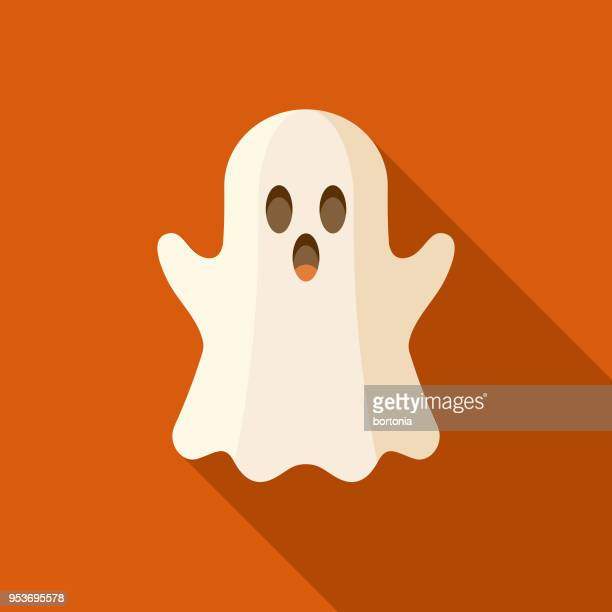 ilustraciones, imágenes clip art, dibujos animados e iconos de stock de icono de halloween fantasma diseño plano con sombra lateral - aparición acontecimiento