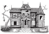 Ghost house hand drawing vintage style isolate on white background,Halloween day symbol and background