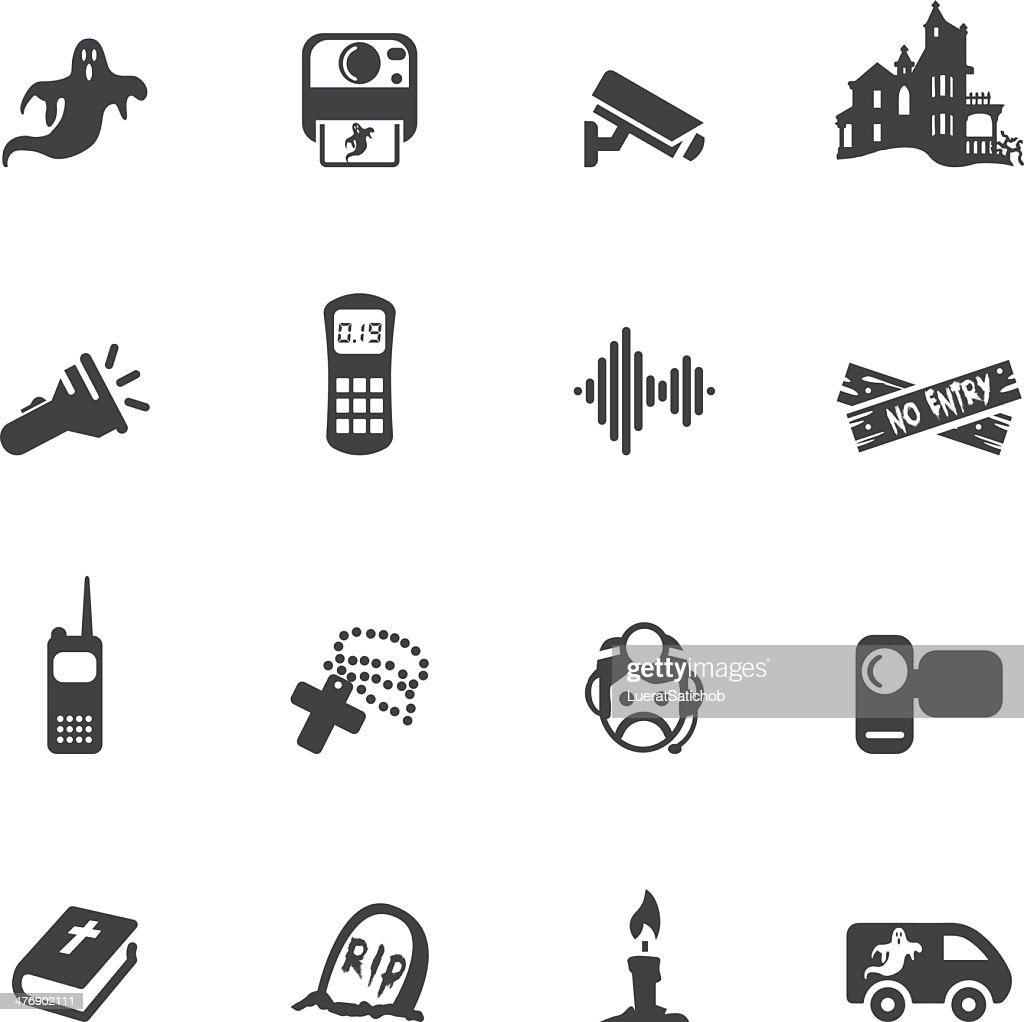 Ghost Hunter Silhouette Icons : stock illustration