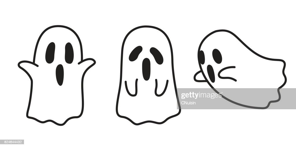 Ghost icon Halloween doodle illustration