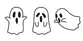 Ghost icon Halloween doodle illustration