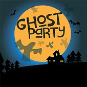 Ghost party lettering design and illustration for poster, card or invitation