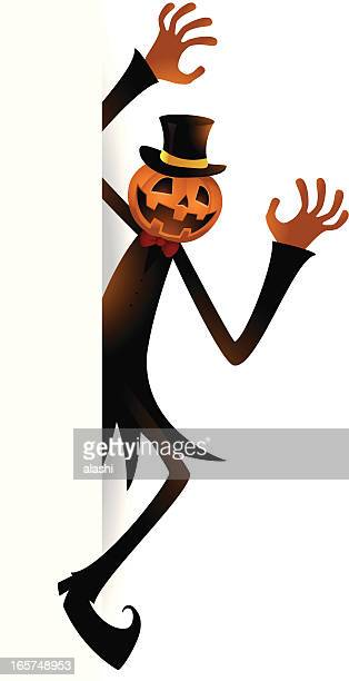 ghost pumpkin jack o' lantern appear from white background - entusiástico stock illustrations