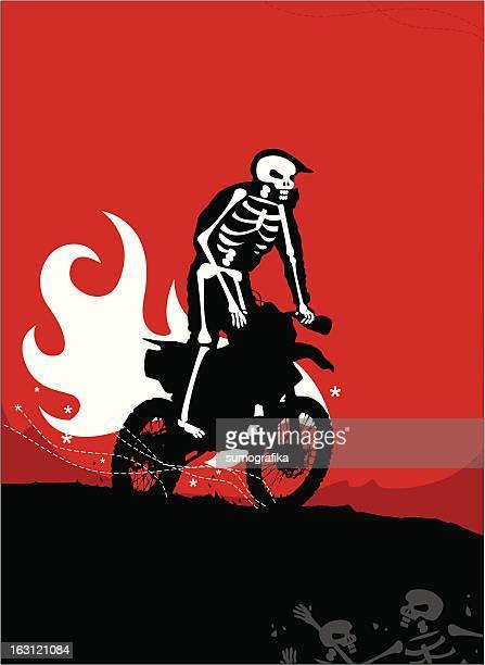 ilustraciones, imágenes clip art, dibujos animados e iconos de stock de fantasma motor rider [grunge] x - motocross
