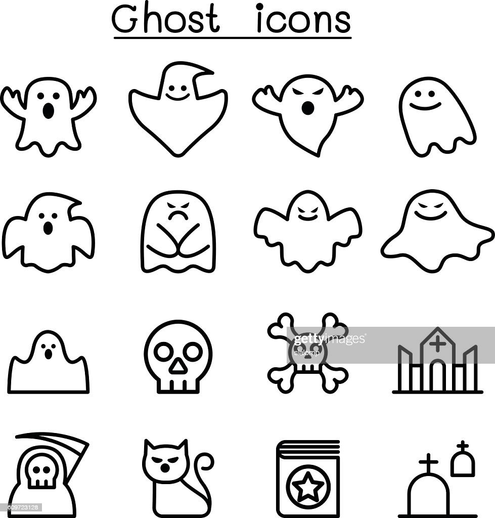 Ghost & spooky icon set in thin line style