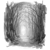 Ghostly forest trail, watercolor illustration.