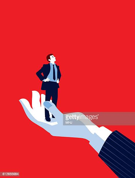 illustrations, cliparts, dessins animés et icônes de giant business man's hand holding tiny businessman - imitation