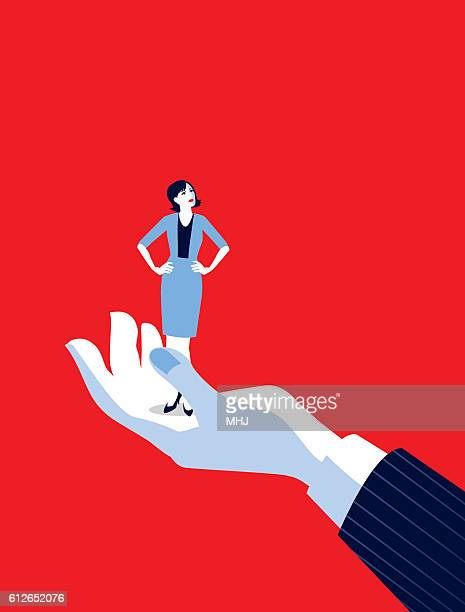 illustrations, cliparts, dessins animés et icônes de giant business man's hand holding tiny businesswoman - femme grosse