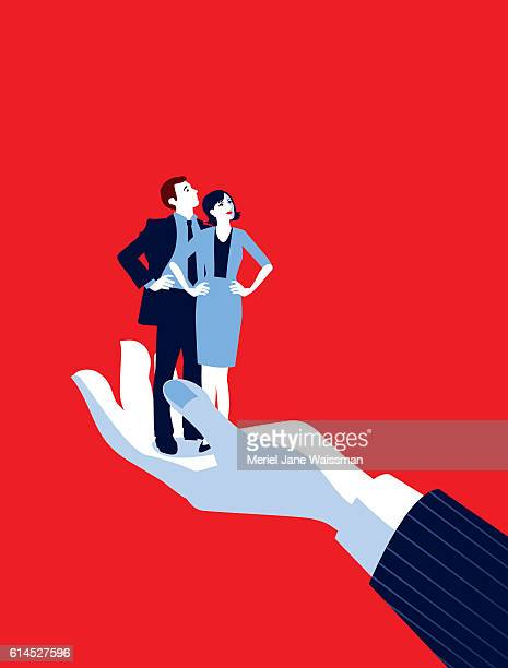giant businessman's hand holding tiny businesswoman and man - silk screen stock illustrations