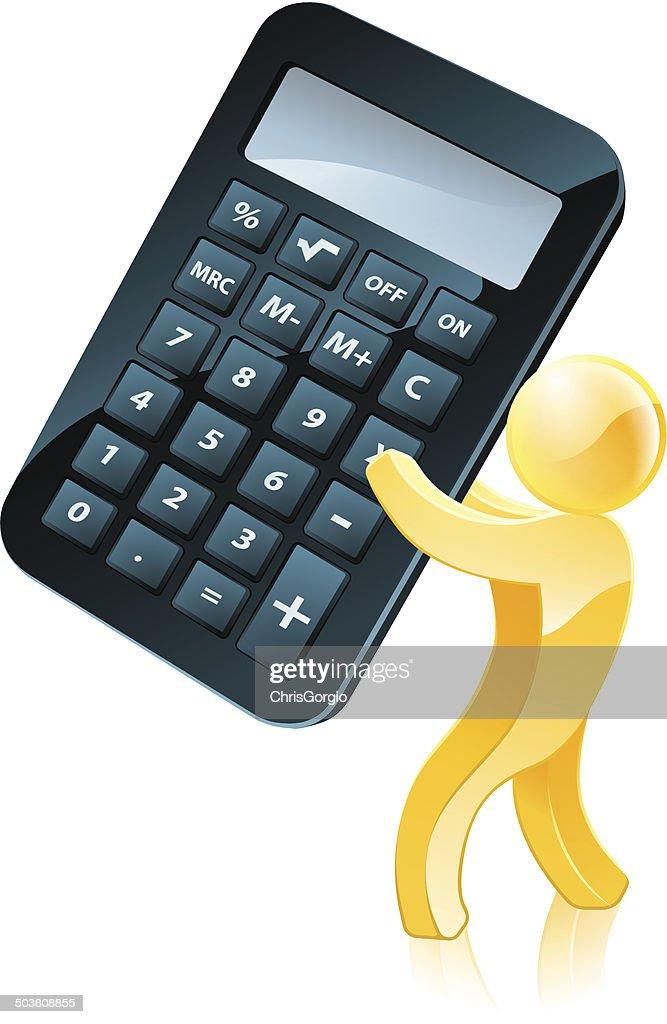 Giant calculator person