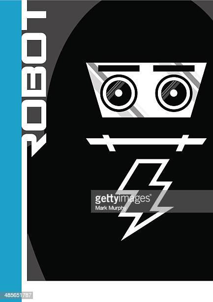giant futuristic mecha robot in silhouette - helmet visor stock illustrations, clip art, cartoons, & icons