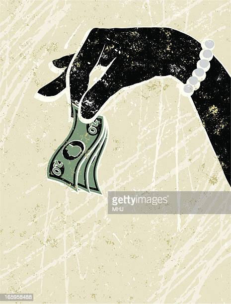 Giant Glamorous Woman's Hand Holding Small Banknotes
