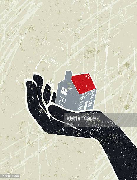 Giant Hand with a Tiny House on the Palm