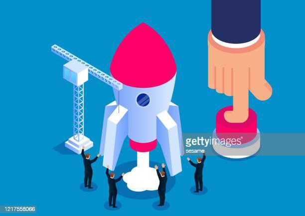 riese hilft kleinunternehmern, die rakete zu starten - stapellauf stock-grafiken, -clipart, -cartoons und -symbole