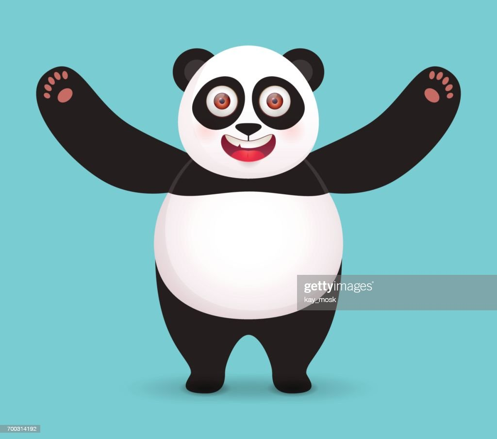 Giant Panda hugs. Vector character on blue background.