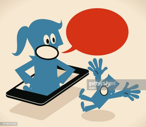 giant woman from smart phone telling something to small blue guy - girlfriend stock illustrations, clip art, cartoons, & icons