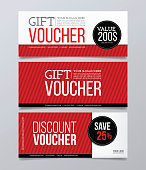 Gift and discount voucher template. Horizontal banner with geometrical background.