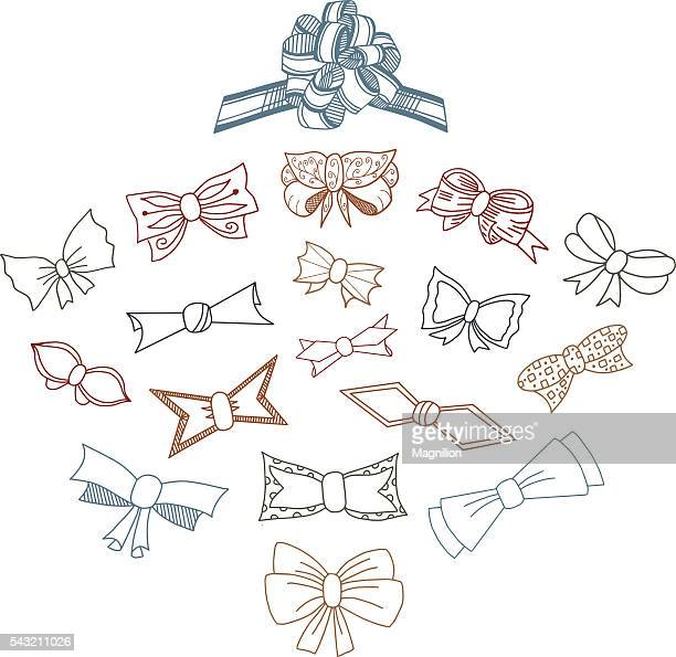 gift bows doodle set - hair bow stock illustrations