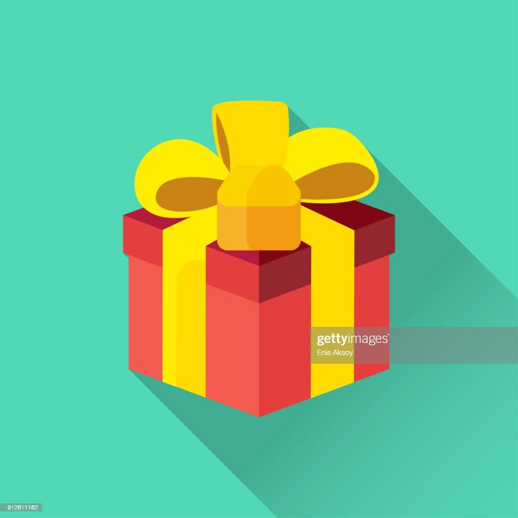 Gift Box Flat Icon : stock illustration