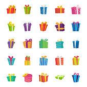 Gift Box Flat Vector Icons Set
