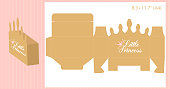 Gift box - gold crown shape. Vector template for handmade and laser cutting. Can be used for little princess party.
