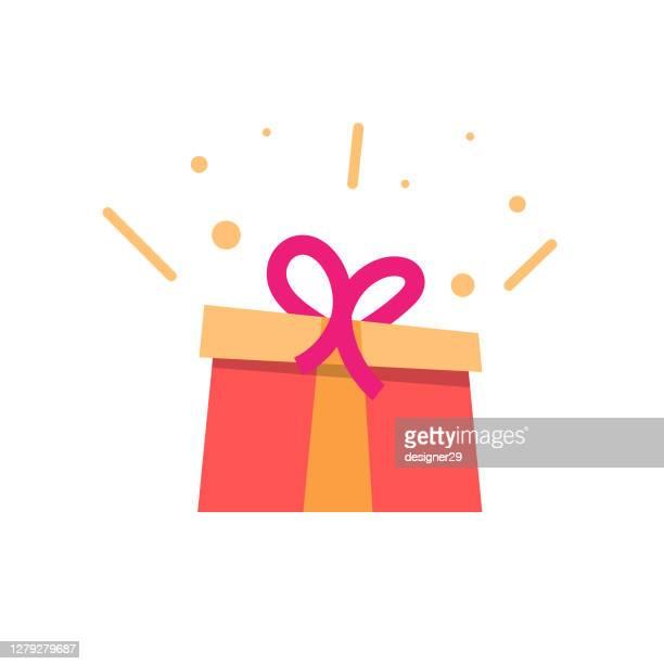 illustrations, cliparts, dessins animés et icônes de conception plate d'icône de boîte de cadeau. - cadeau