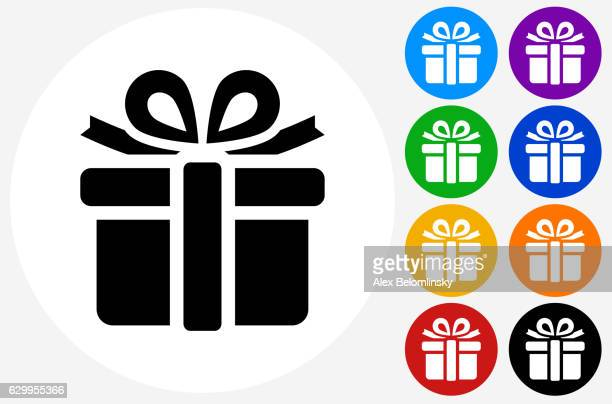 getty images gift box icon on flat color circle buttons negle Gallery