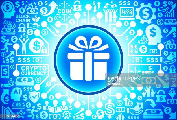 gift box  icon on money and cryptocurrency background - christmas cash stock illustrations
