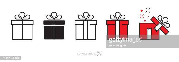 geschenk-box-symbol-set - geschenk stock-grafiken, -clipart, -cartoons und -symbole